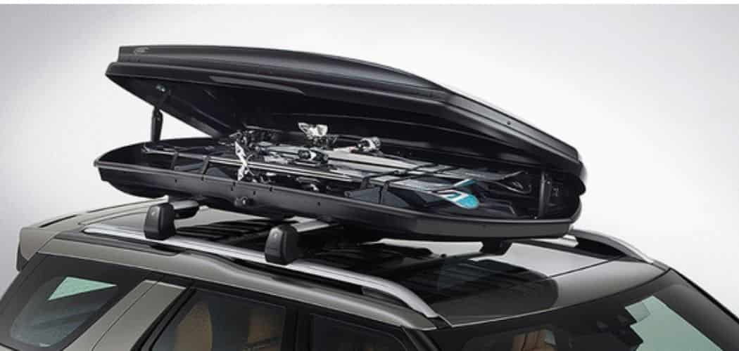 Three Pairs of Skis in a roof cargo box